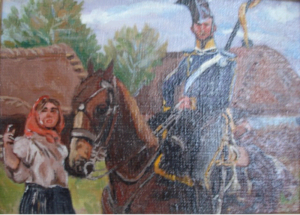 Ułan i dziewczyna -obraz wg.W.Kossaka