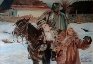 Ranny kirasjer i dziewczyna - obraz wg.W.Kossaka