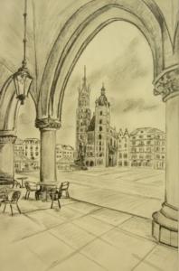 Rynek krakowski - widok na Kościół Mariacki