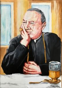 Prymas Stefan Wyszyński przy herbacie