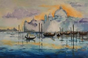 Wenecja Obraz malowany szpachelką